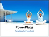 PowerPoint Template - Happy couple on the beach practicing yoga with a cottage in the background