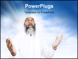PowerPoint Template - Stock image of Arabic man praying over open sky background