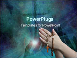 PowerPoint Template - praying with a rosary background is deep black