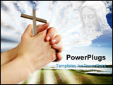PowerPoint Template - a pair of hands in a praying position set against a beautiful prairie lake landscape