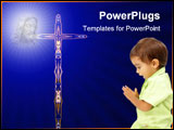 PowerPoint Template - Child praying with his bunny over white background