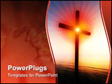 PowerPoint Template - A religious cross floating impossibly over the sea at sunrise.