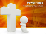 PowerPoint Template - 3D man on his knees praying next to the Cross - isolated over a white background