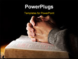 PowerPoint Template - Hands of a man praying in solitude with his Bible (Christian image shallow focus).