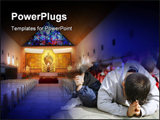 PowerPoint Template - Children praying and Church