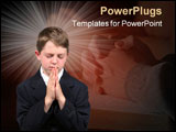 PowerPoint Template - boy isolated on white praying with eyes closed
