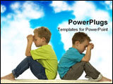 PowerPoint Template - Two friends are praying while sitting with their backs against each other.
