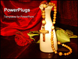 PowerPoint Template - Praying beads with a rose and vase on a red cloth background