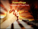 PowerPoint Template - hands praying with a dramatic red sky overa small town; prayer warrior.