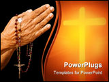 PowerPoint Template - an old asian woman holds her hands in prayer with a rosary