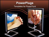 PowerPoint Template - Hands praying through the screen of a PC