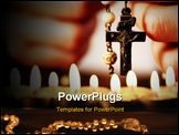 PowerPoint Template - oman (only closeup of hands to be seen) with rosary sending a prayer to God, the dark setting sugge