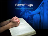 PowerPoint Template - A mans hands clasped in prayer over a Bible