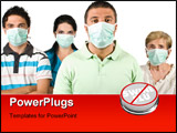 PowerPoint Template - roup of people with protective mask standing with hands crossed and looking at you isolated on whit