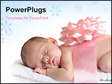PowerPoint Template - A sleeping newborn wrapped in a broad pink ribbon and a bow. Isolated on white.