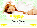 PowerPoint Template - beautiful pregnant woman with flowers in bed