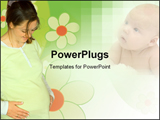 PowerPoint Template - woman expecting a baby dressed in yellow with flowers in the background