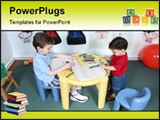 PowerPoint Template - Kids sharing crayons at preschool