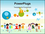 PowerPoint Template - Group of kids playing abstract background creative design