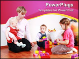 PowerPoint Template - Photo of Kids in kindergarten with their teacher