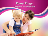 PowerPoint Template - Young mother looking at books together with her little daughter