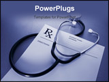 PowerPoint Template - RX prescription form and stethoscope on stainless steel desk blue tone