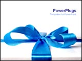 PowerPoint Template - Blue ribbon tied on present.