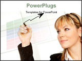 PowerPoint Template - Close up of business woman drawing a graph on transparent glass or foil (focus on pen)