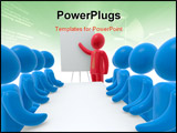 PowerPoint Template - ed person pointing hand at board. Group of blue persons sitting behind desk. Concept of presentatio