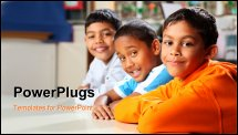 PowerPoint Template - ell behaved and waiting patiently three smiling young school friends together in classroom, focus p
