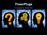 PowerPoint Template -  series illustrating a question, thinking of a solution and the idea to solve the problem. For larg