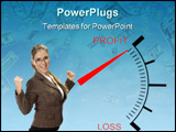 PowerPoint Template - beautiful woman posing near profit loss meter