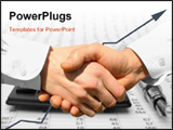 PowerPoint Template - handshake over paper and pen blurry computer in the background