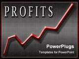 PowerPoint Template - line graph with the word profits in white lettering.