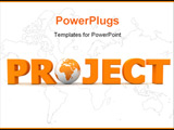 PowerPoint Template - orange word Project with 3D globe replacing letter O