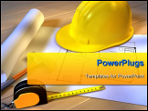 PowerPoint Template - A project for a new house with an hammer, a tape meter and a security helmet. Digital illustration