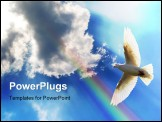 PowerPoint Template - A dove soaring in the blue sky and clouds with a rainbow shining through.