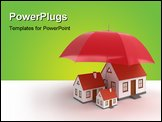 PowerPoint Template - Property insurance. 3d image of house. White background