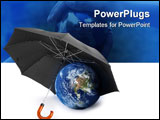 PowerPoint Template - black umbrella over a globe - concept of earth protection Earth