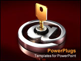 PowerPoint Template - 3d illustration of a large brass key inserted into a large chrome at/email symbol