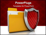 PowerPoint Template - 3d illustration of folder icon with shield over white background