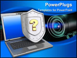 PowerPoint Template - 3d illustration of laptop and shield with question mark