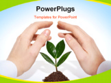 PowerPoint Template - Male hands offering protection for a new sprout