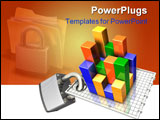 PowerPoint Template - d illustration of a large metal padlock clamped onto the base of a three-dimensional multi-colored