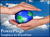 PowerPoint Template - Two hands hold the Earth protectively.