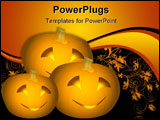 PowerPoint Template - llustration of three pumpkins with carved smiling faces and candlelight emitting from them. Black b