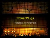 PowerPoint Template - Pumpkins and bats on the dark-orange background