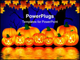PowerPoint Template - Illustration of some halloween pumpkins near the water