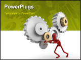 PowerPoint Template - solated red dummy pushing a gear. This image contains a clipping path for exact isolation from the