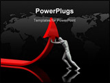 PowerPoint Template - abstract 3d illustration of man pushing red arrow upward